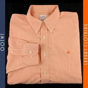 BROOKS BROTHERS XL Orange Gingham Dress Shirt